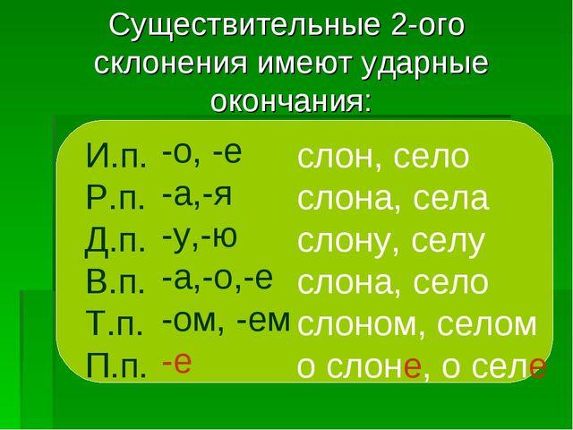 Существительные 2-ого склонения имеют ударные окончания: И.п. Р.п. Д.п. В.п....