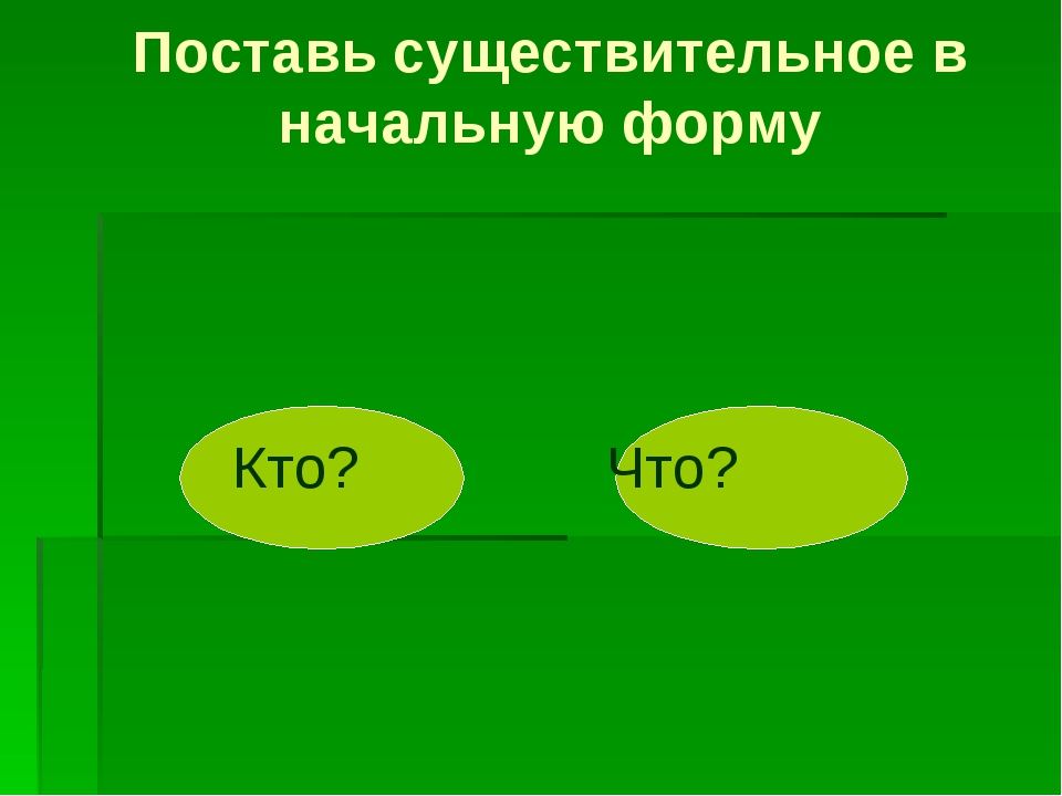 Поставь существительное в начальную форму Кто? Что?