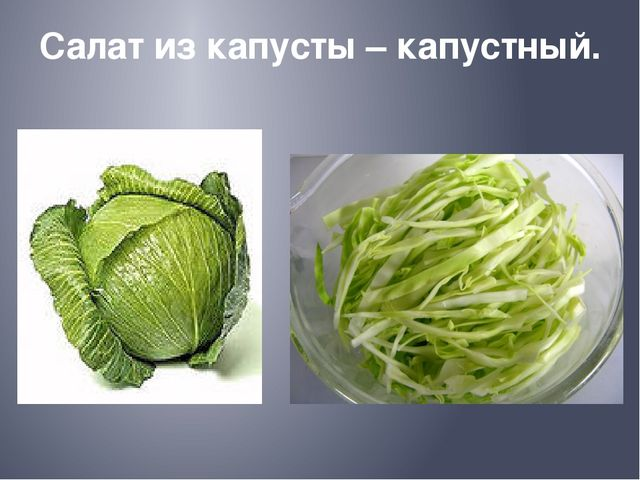 Салат из капусты – капустный.
