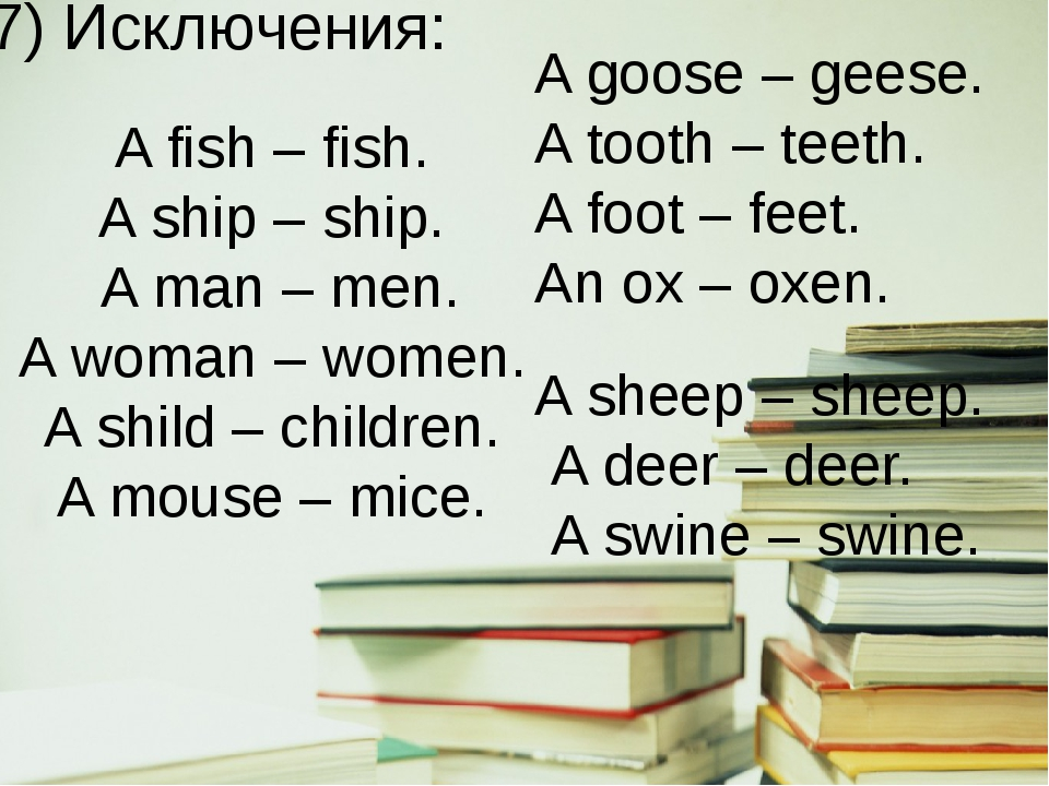 7) Исключения: A fish – fish. A ship – ship. A man – men. A woman – women. A...