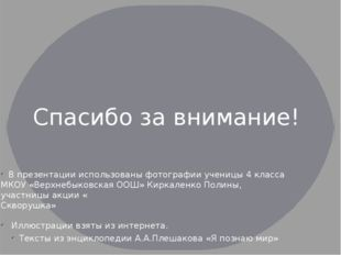 В презентации использованы фотографии ученицы 4 класса МКОУ «Верхнебыковская