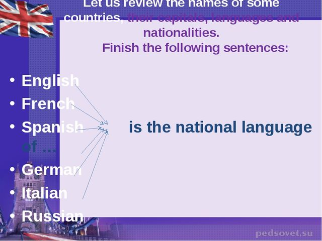 Let us review the names of some countries, their capitals, languages and nati...