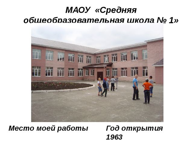 МАОУ «Средняя общеобразовательная школа № 1» города Нурлат Место моей работы...