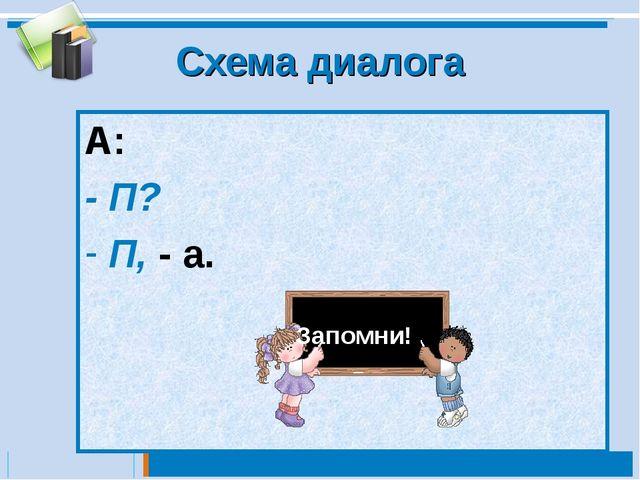 Схема диалога А: - П? П, - а. Запомни!