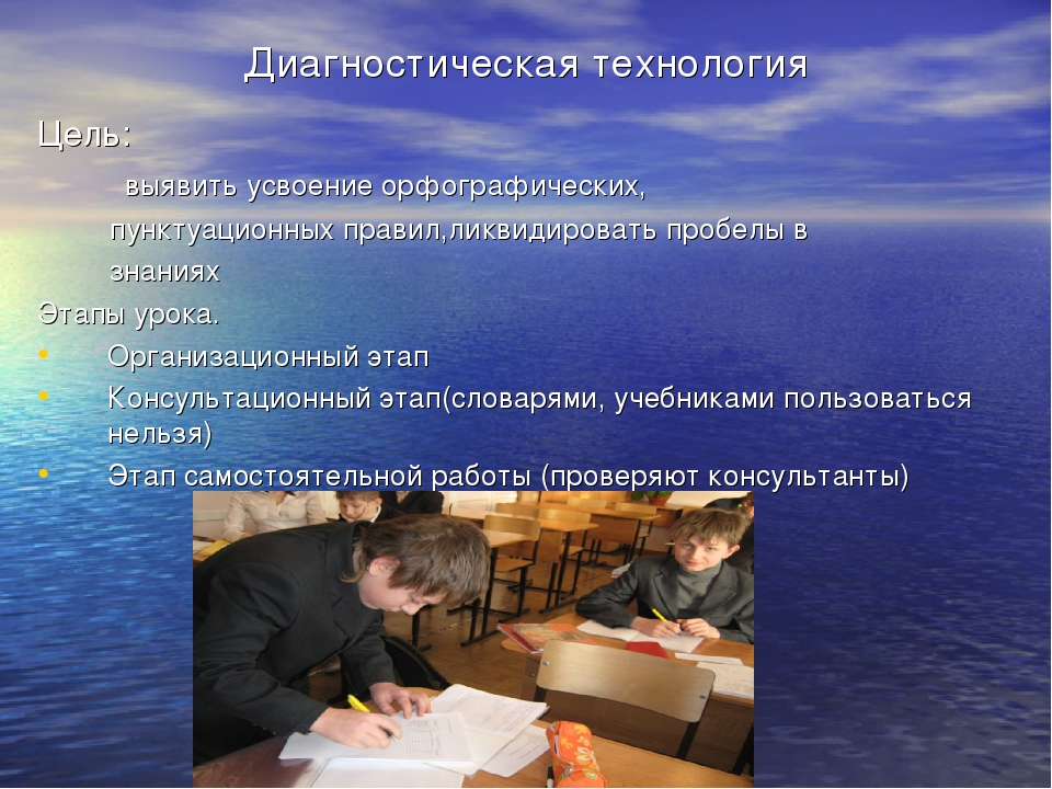 Диагностическая технология Цель: выявить усвоение орфографических, пунктуацио...