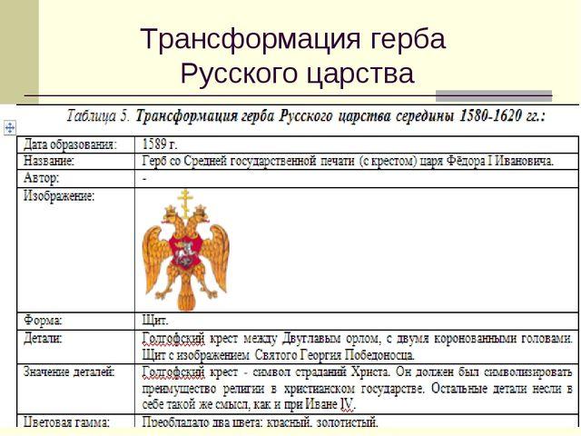 Трансформация герба Русского царства