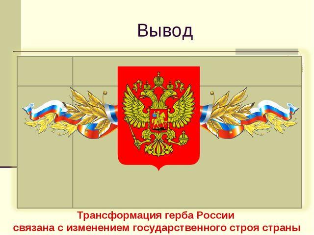 Вывод Трансформация герба России связана с изменением государственного строя...