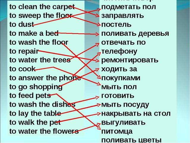 to clean the carpet to sweep the floor to dust to make a bed to wash the floo...