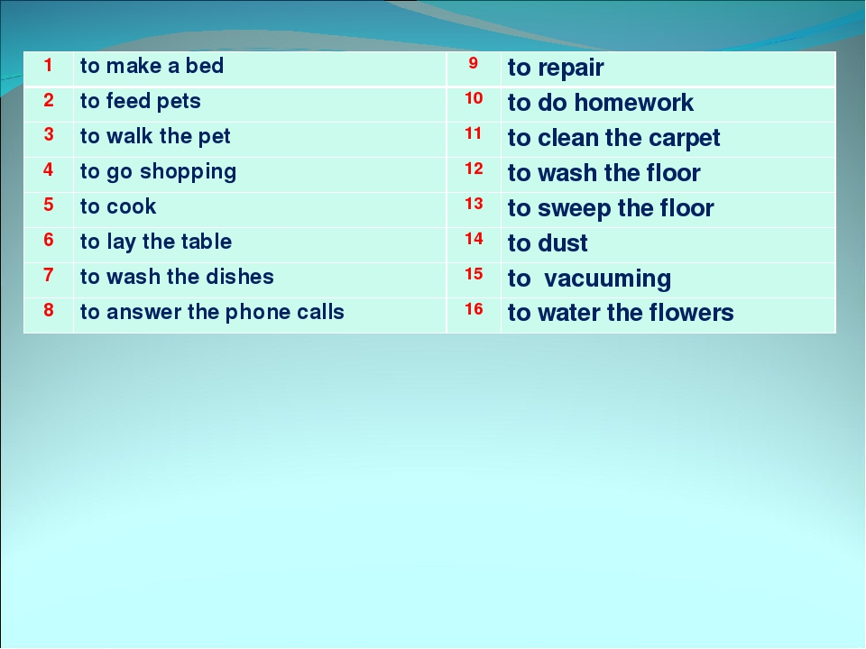 1to make a bed 9to repair 2to feed pets 10to do homework 3to walk the...