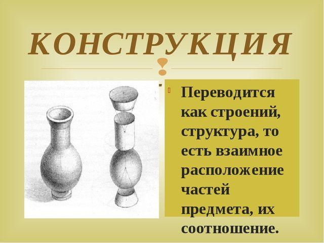 КОНСТРУКЦИЯ - Переводится как строений, структура, то есть взаимное расположе...