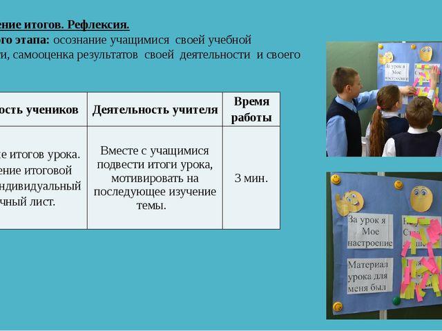 VI. Подведение итогов. Рефлексия. Цель данного этапа: осознание учащимися св...