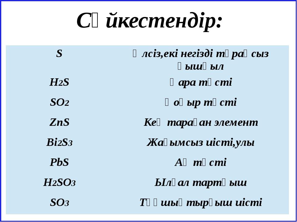 Cәйкестендір: S Әлсіз,екі негізді тұрақсыз қышқыл H2S Қара түсті SO2 Қоңыр т...