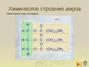 Химическое строение жиров Трёхатомный спирт (глицерин) ВЖК