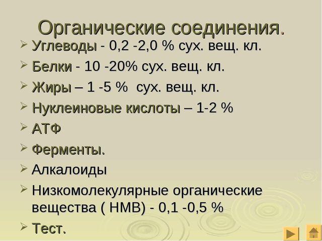 Органические соединения. Углеводы - 0,2 -2,0 % сух. вещ. кл. Белки - 10 -20%...