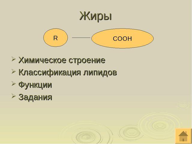 Жиры  Химическое строение Классификация липидов Функции Задания R CООН
