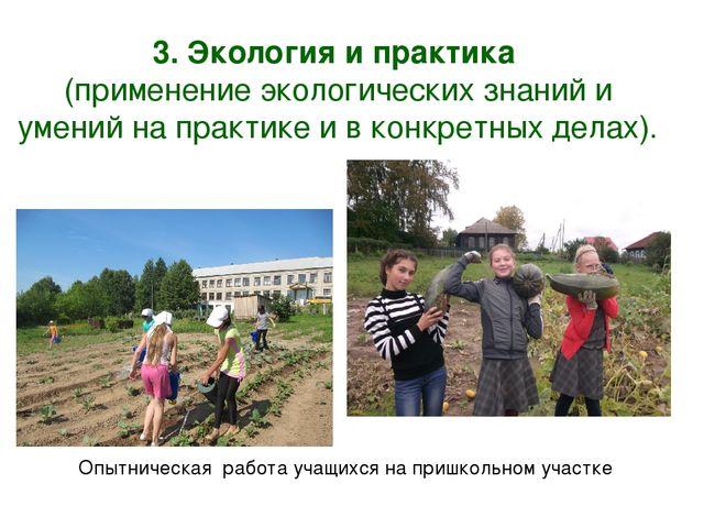 3. Экология и практика (применение экологических знаний и умений на практике...
