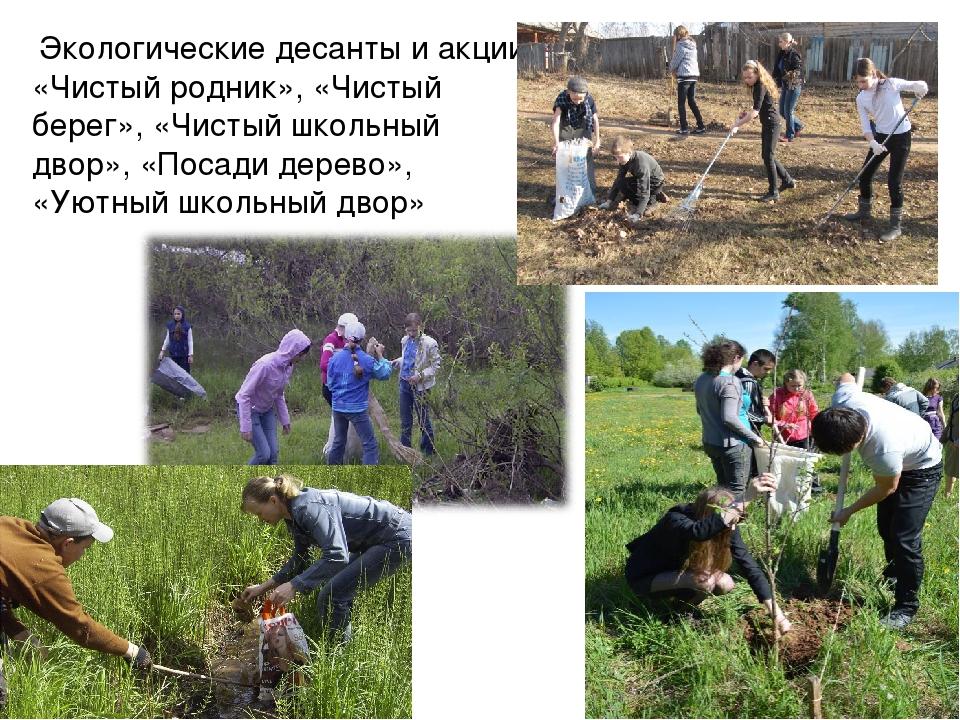 Экологические десанты и акции «Чистый родник», «Чистый берег», «Чистый школь...