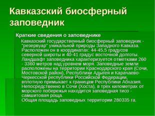 Кавказский биосферный заповедник Краткие сведения о заповеднике Кавказский го