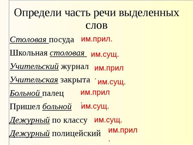 Определи часть речи выделенных слов Столоваяпосуда Школьнаястоловая Учител...