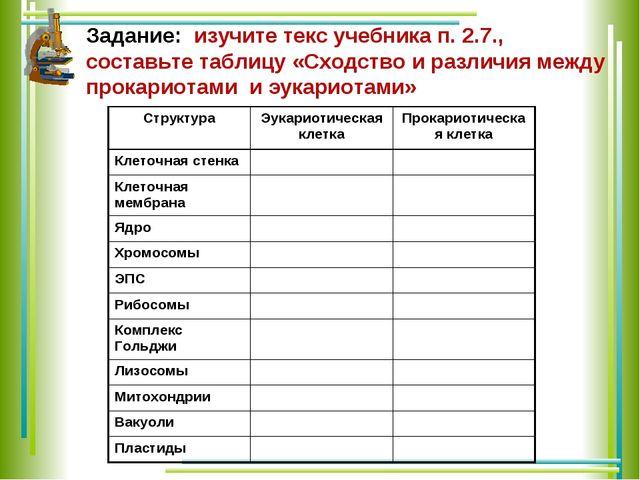 Задание: изучите текс учебника п. 2.7., составьте таблицу «Сходство и различи...