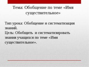 Тема: Обобщение по теме «Имя существительное»  Тип урока: Обобщение и систем
