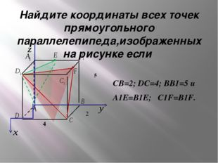 Найдите координаты всех точек прямоугольного параллелепипеда,изображенных на