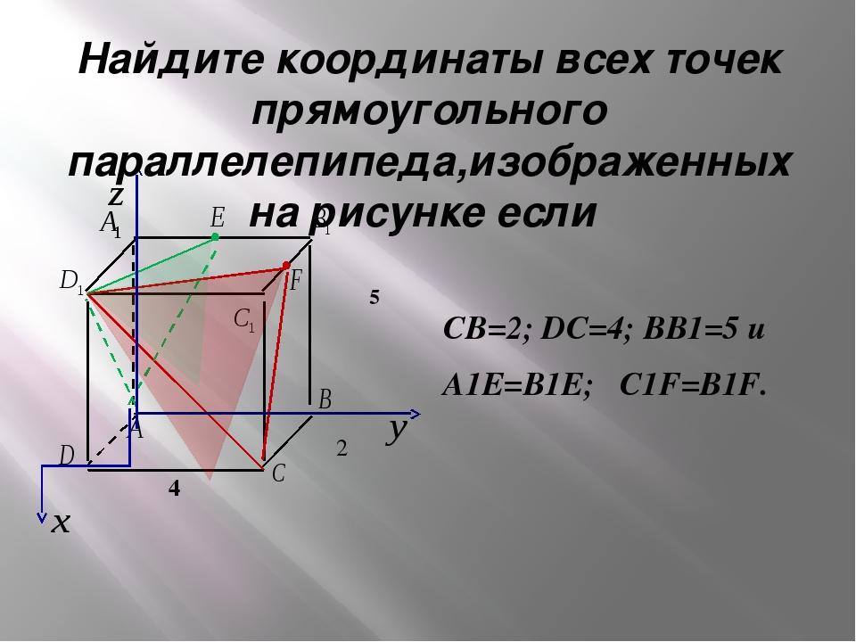 Найдите координаты всех точек прямоугольного параллелепипеда,изображенных на...