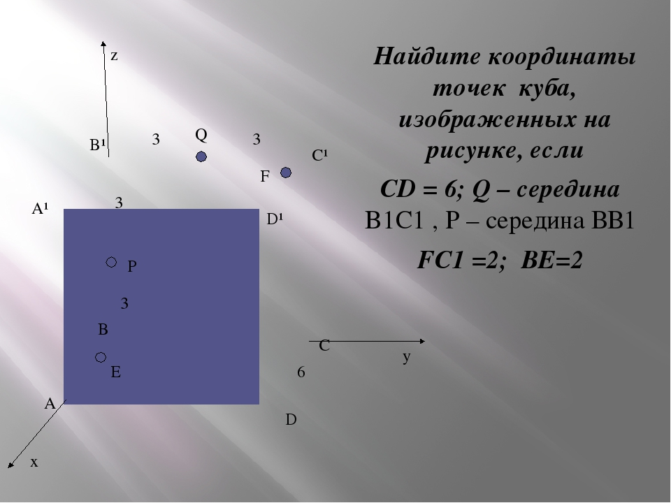 Q P D A A¹ B¹ C¹ C D¹ B F E Найдите координаты точек куба, изображенных на р...