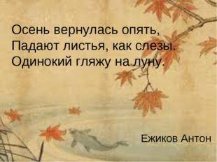 Осень вернулась опять, Падают листья, как слезы. Одинокий гляжу на луну. Ежик