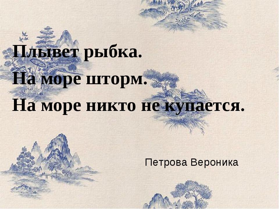 Петрова Вероника Плывет рыбка. На море шторм. На море никто не купается.