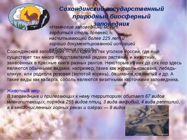 Сохондинский государственный природный биосферный заповедник «Немногие запове...