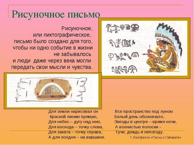 Рисуночное письмо Рисуночное, или пиктографическое, письмо было создано для т...