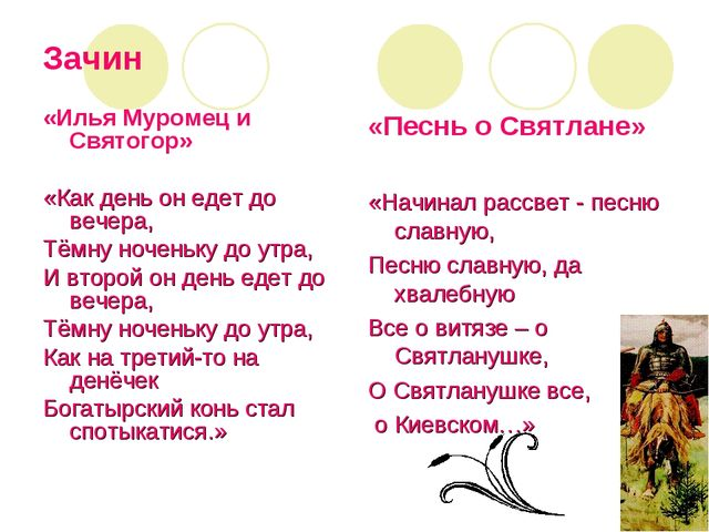 Зачин «Илья Муромец и Святогор» «Как день он едет до вечера, Тёмну ноченьку д...
