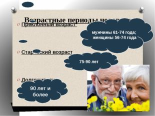 Возрастные периоды человека Преклонный возраст Старческий возраст Долгожители