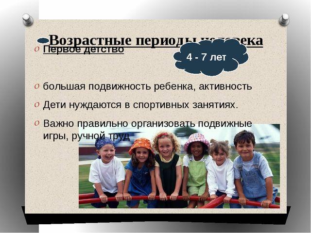 Возрастные периоды человека Первое детство большая подвижность ребенка, актив...