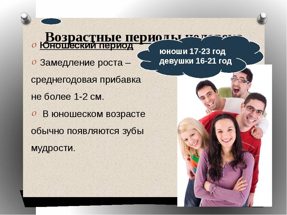 Возрастные периоды человека Юношеский период Замедление роста – среднегодовая...