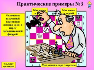 Практические примеры №3 Окончания шахматной партии при помощи коня в паре с д