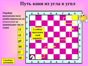 Путь коня из угла в угол Перейди шахматное поле конём наискосок из угла в уго
