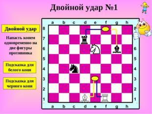 Двойной удар Двойной удар №1 Подсказка для белого коня Подсказка для черного