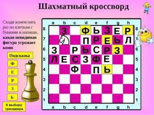 Шахматный кроссворд Сходи конем пять раз по клеткам с буквами и напиши, какая