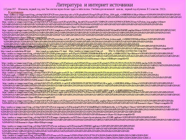 Литература и интернет источники 1.Сухин И.Г. Шахматы, первый год, или Там кле...