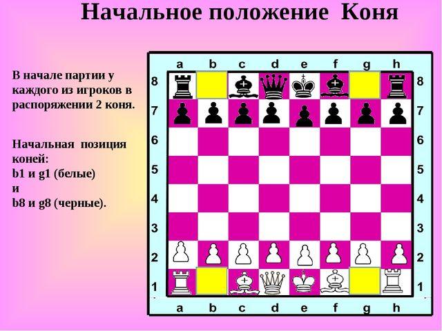 Начальное положение Коня В начале партии у каждого из игроков в распоряжении...