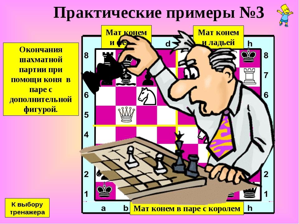 Практические примеры №3 Окончания шахматной партии при помощи коня в паре с д...