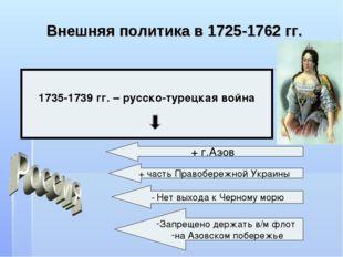 Внешняя политика в 1725-1762 гг. 1735-1739 гг. – русско-турецкая война + г.Аз