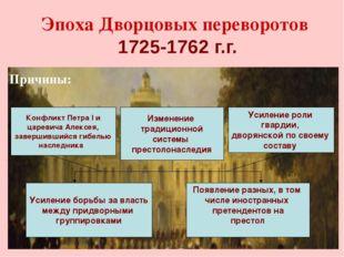 Эпоха Дворцовых переворотов 1725-1762 г.г. Причины: Усиление роли гвардии, дв