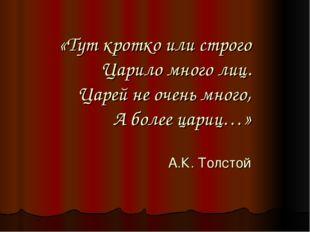 «Тут кротко или строго Царило много лиц. Царей не очень много, А более цариц…
