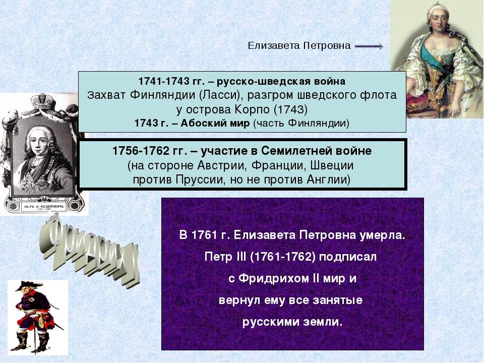Елизавета Петровна 1741-1743 гг. – русско-шведская война Захват Финляндии...