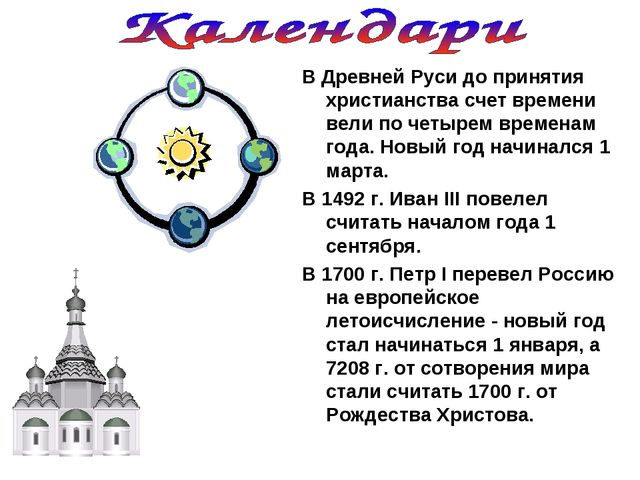 В Древней Руси до принятия христианства счет времени вели по четырем временам...