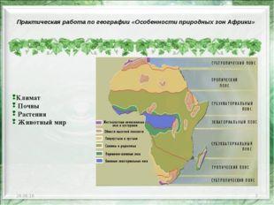 * * Климат Почвы Растения Животный мир Практическая работа по географии «Особ