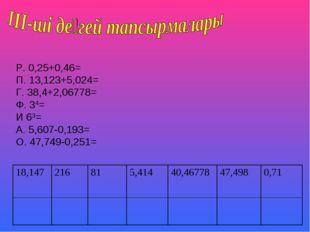 Р. 0,25+0,46= П. 13,123+5,024= Г. 38,4+2,06778= Ф. 34= И 63= А. 5,607-0,193=